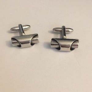 Other - Funky metals fluted retro silver men's cuff links